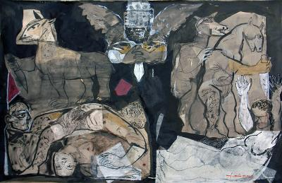 Angel of Death (Homs City disaster), 2012, Collage Chinese ink, rice paper, 88x139cm.
