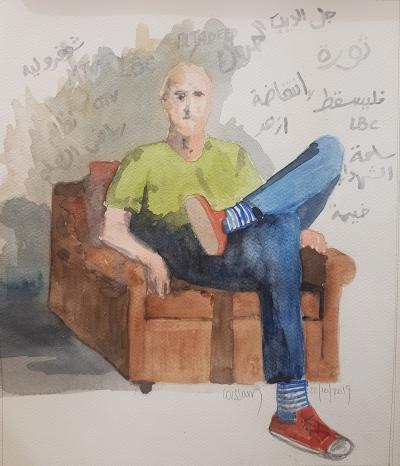 Wissam Beydoun, Zapping I, 2019, pastel & charcoal on paper, 35 x 29 cm