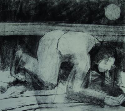 Drinking from the Moon's Reflection 2013, charcoal on paper, 48x54 cm