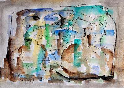 Untitled 3, 2013, Watercolor on cardboard, 38x46.5cm