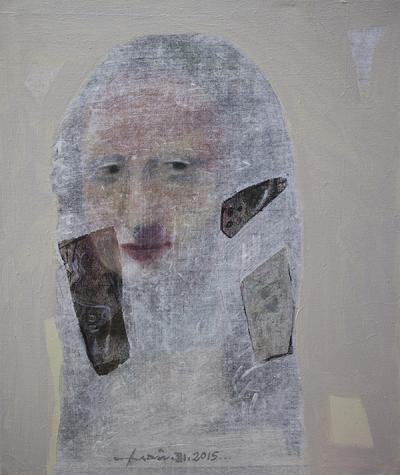 Mona Lisa, 2015, mixed media &collage canvas.63x71cm