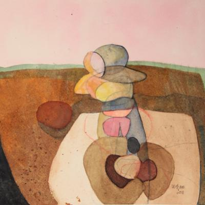 Untitled 47, 2010, mixed media on paper, 26 x 26 cm
