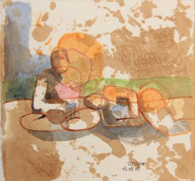 Untitled 53, 2008, aquarelle and coffee, 19,5 x 20,5 cm