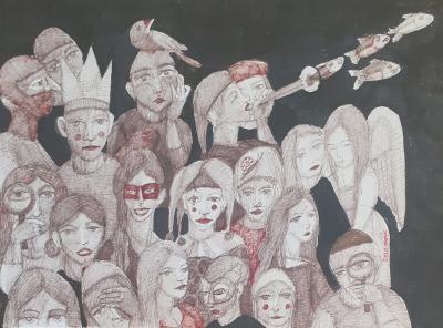 untitled , 2020, Ink on cardboard, 50x35.cm