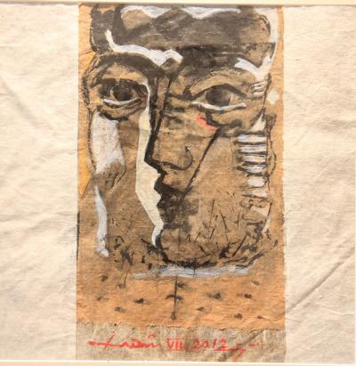 Face 2, 2012, collage chinese ink on rice paper, 39x39cm
