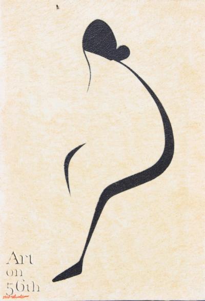 Kookine (Hair Bun), 2017, natural sand on canvas, 69x48cm.
