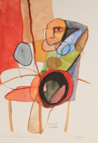 Sitting.... wating, 2007, mixed media on paper, 21 x 15 cm