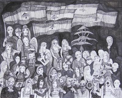 Untitled 18, 2020, ink on cardboard, 60 x 75 cm