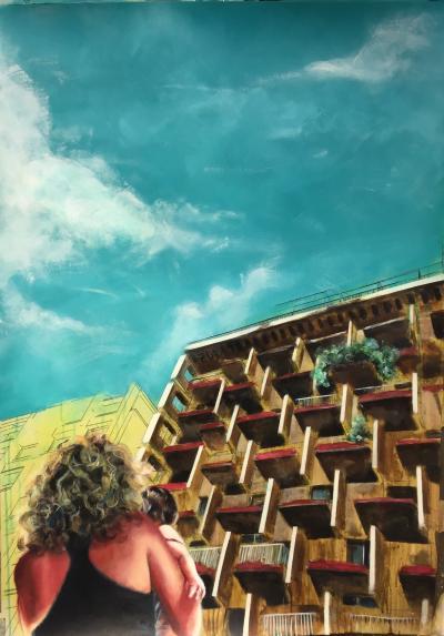 Urban oasis, 2019,Acrylic on cardboard,110 x 80 cm
