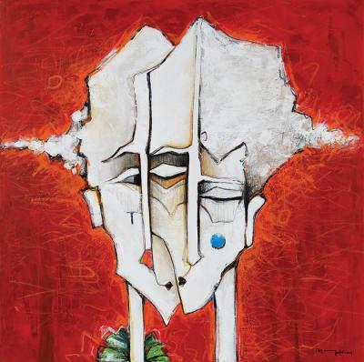The Kiss, 2014, Acrylic on canvas, 100 x 100 cm