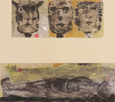 Guardians of death, 2012, collage chinese ink on rice paper, 17x53cm,15.5x40cm