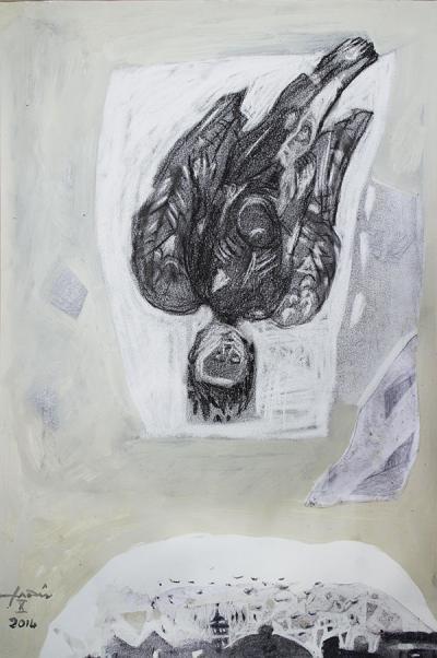 Icarus 12, 2015, mixed media  collage on vanvas, 54x37cm