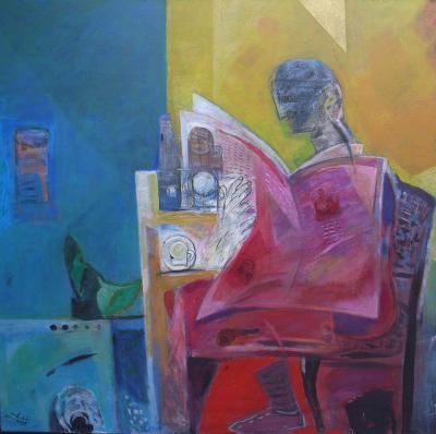 Sidewalk cafe, 2008, Acrylic on canvas, 150x150cm.