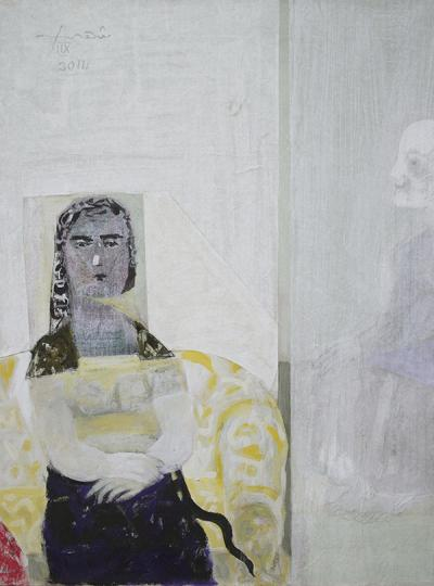 Sitting Woman 1,2014,mixed media & collage on canvas,80x60cm