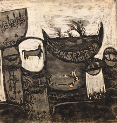 Untitled B12, 1972, Mixed media on paper, 50 x 47 cm
