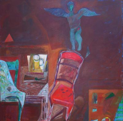 Sidewalk cafe 2, 2008, Acrylic on canvas, 150x150cm