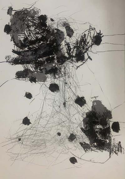 Disapearing 3, 2021  mixed media on paper 75x110cm