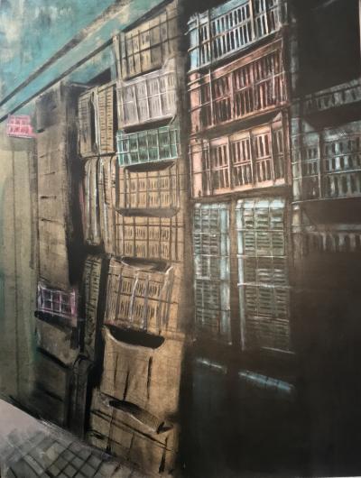 Façade, 2018, Acrylic on MDF, 80 x 60 cm