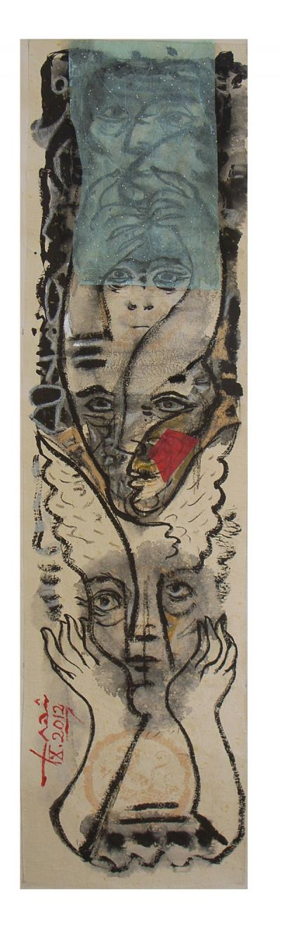 Faces 2012, Collage & chinese ink on rice paper, 100x33 cm