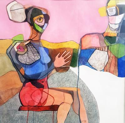 Conversation II, 2015, mixed media on paper, 47x47cm
