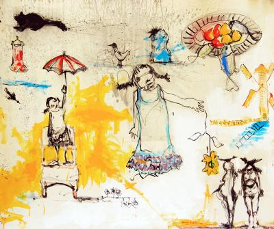 4- Damascus دمشق Year: 2013 Material: acrylic on canvas Size:100x150cm
