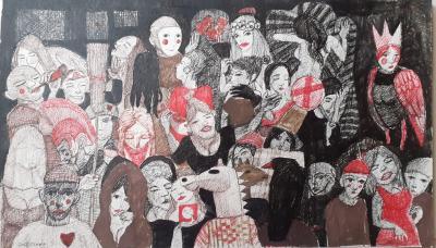 untitled , 2020, Ink on cardboard, 60x35.cm