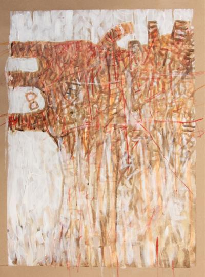 Re-imagining Beirut abstract, 2021, mixed media on paper, 51 x 37 cm.