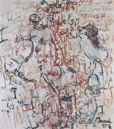 Arab spring series Can you hear me now, 2011, oil on canvas, 170x150cm