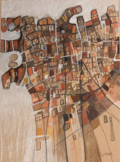 Re-imagining Beirut abstract, 2021, charcoal, pastel on paper, 51 x37 cm