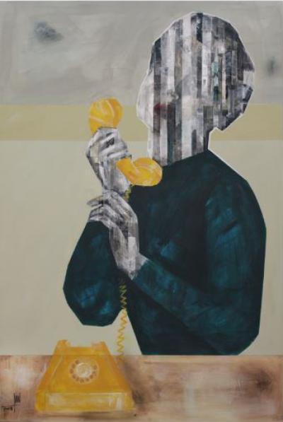 Phone call, 2018, Mixed media on canvas, 120 x 80 cm