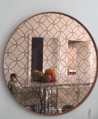 The rebel. copper. Pink mirror in arabesque design. Diameter , 90cm, or 80 cm,or  70cm