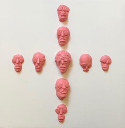Faces 7, 2019, Resin Acrylic on wood, 30 x 30 x 5 cm