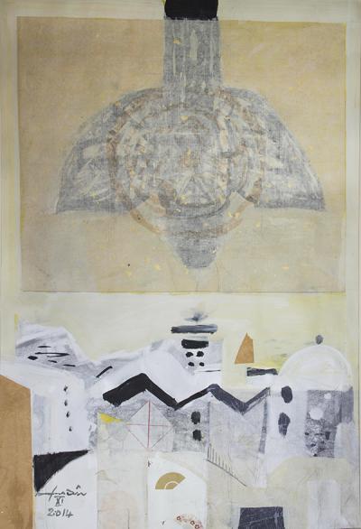 Icarus 15, 2015, mixed media  collage on vanvas, 54x37cm