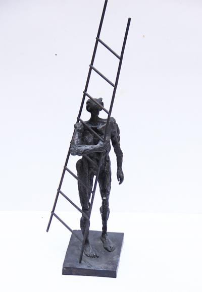 Woman and Ladder, Bronze, 83x23x21 cm
