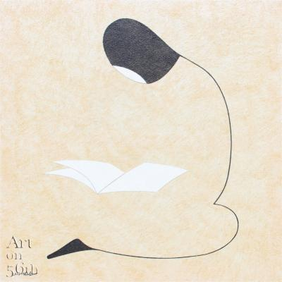 Reader 4, 2017, natural sand on canvas, 100x100cm.