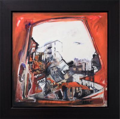 A crimson shadow, 2012, Oil & mixed media on canvas, 80x80cm