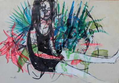 Untitled 285, mixed media on paper, 50 x 35 cm