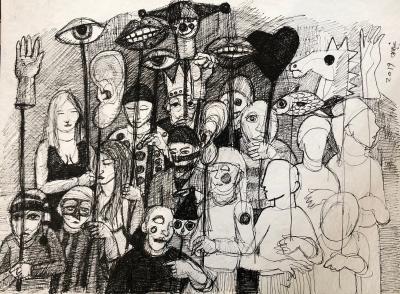 Untitled 6, 2019, Ink on cardboard, 40 x 50 cm
