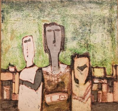 Untitled B17, 1973, Mixed media on paper, 73 x 70 cm