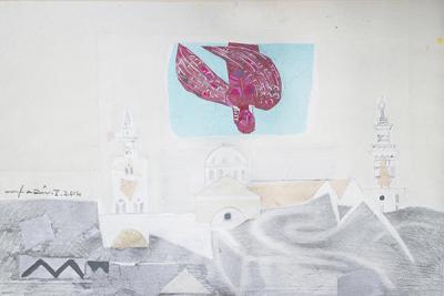 Icarus 9, 2015, mixed media  collage on vanvas, 54x37cm