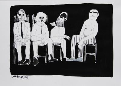 Group 4, 2016, ink on paper, 30x42 cm