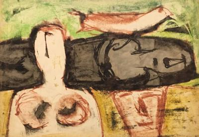 Untitled B20, 1974, Mixed media on paper, 50 x 70 cm