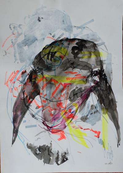 Untitled 295, mixed media on paper,  50 x 35 cm