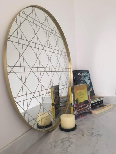 The rebel, brass . White mirror with gold Khaizaran design. Diameter 150cm, 90cm, or 80cm, or 70 cm