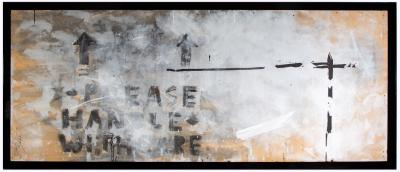 Please handle with care, 2017, Mixed media on wood, 119 x 250 cm