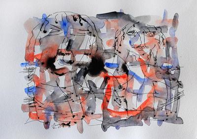 picnic, 2013, Watercolor on cardboard, 21 x 30 cm