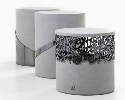 Iron or bronze calligraphy & concrete, Side Table 3