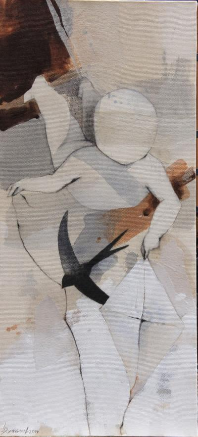 Untitled15, 2014, mixed media on canvas, 100 x 35 cm