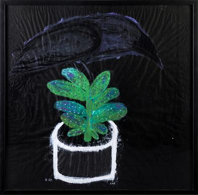 crow on a cactus in a tin pot, 2018, acrylic & pastel on crafpaper, 100x100cm