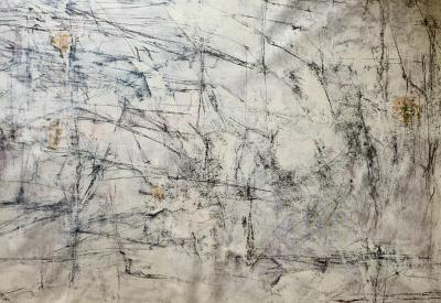 I am here . . . I . . . I . . . , mixed media on canvas, 1.10 x 1.5 cm.